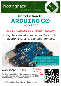 Arduino workshop poster - Apr 2015