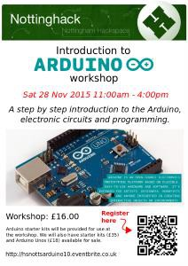 Flyer for the November 2015 Arduino workshop