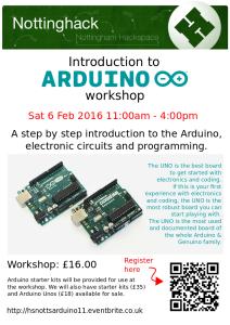 Arduino workshop poster - Feb 2016